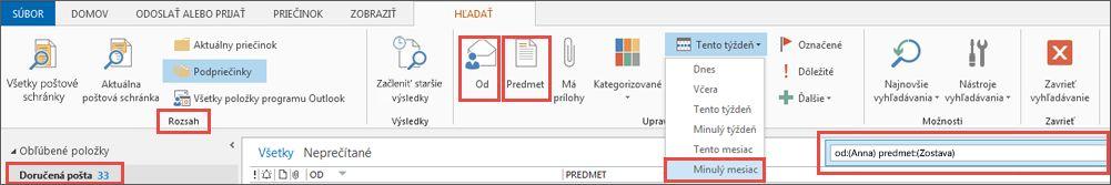 Priečinky vsúboroch Archive.pst aPersonal Folders.pst
