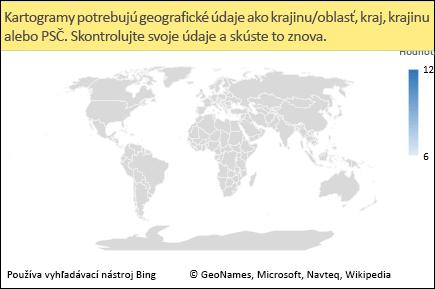 Kartogram v Exceli s jednoznačnými údajmi