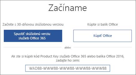 """Zobrazuje obrazovku """"Poďme na to"""", ktorá označuje, že skúšobná verzia Office 365 je súčasťou tohto zariadenia"""