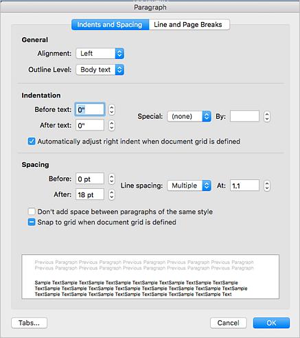 Snímka obrazovky dialógového okna Odsek