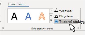 Zvýraznené tlačidlo štýly písma WordArt