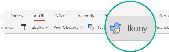 Tlačidlo Ikony na karte Vložiť v PowerPointe pre web.