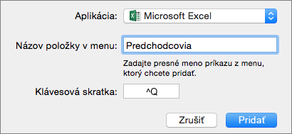 Príklad vlastnej klávesovej skratky v Office 2016 for Mac