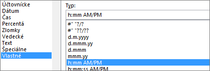 Dialógové okno Formát buniek, vlastný príkaz, typ h:mm AM/PM