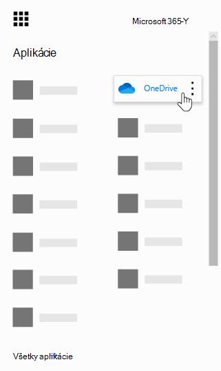 Spúšťač aplikácií služieb Office 365 so zvýraznenou aplikáciou OneDrive