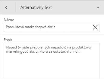 Príkaz Alternatívny text na karte Tvar