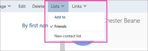Snímka obrazovky s tlačidlom Zoznamy