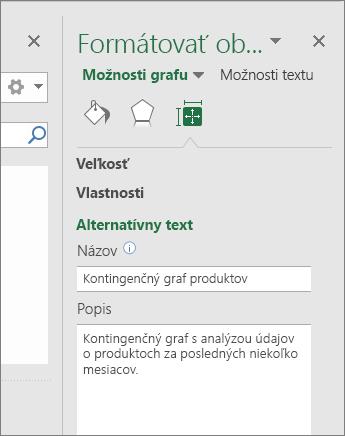 Snímka obrazovky oblasti alternatívneho textu tably Formátovať oblasť grafu s popisom vybratej kontingenčnej tabuľky
