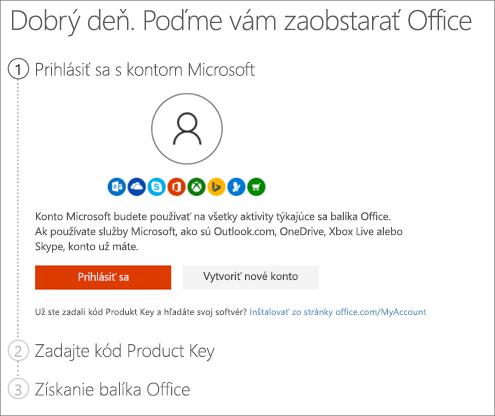 Zobrazenie stránky setup.office.com, kde možno uplatniť kód Product Key