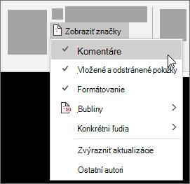 Zobrazenie možností zoznamu značiek
