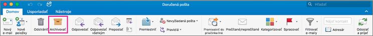 Pás s nástrojmi Outlooku so zvýrazneným tlačidlom Archivovať