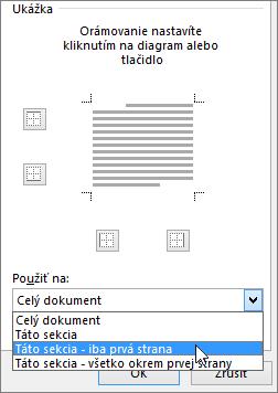 Znázornenie možností Použiť na vdialógovom okne Orámovanie apodfarbenie