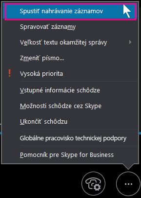 Počas schôdze cez Skype for Business kliknite na položku Spustiť nahrávanie záznamov