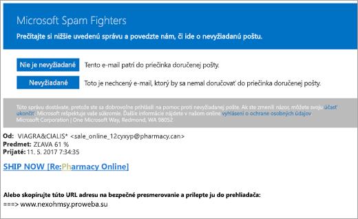 Snímka obrazovky s e-mailom s nevyžiadanou poštou