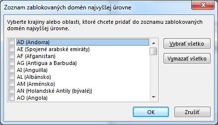 Dialógové okno Zoznam zablokovaných domén najvyššej úrovne
