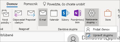 Snímka obrazovky s tlačidlom Nastavenia skupiny na paneli s nástrojmi