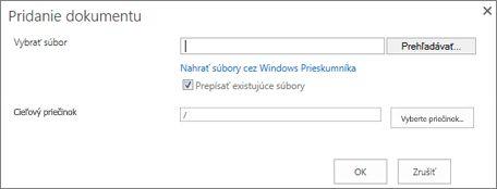 Nahratie v programe Windows Prieskumník