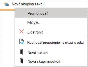 Dialógové okno premenovania skupiny sekcií vo OneNote pre Windows