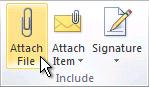 Príkaz priložiť súbor na páse s nástrojmi
