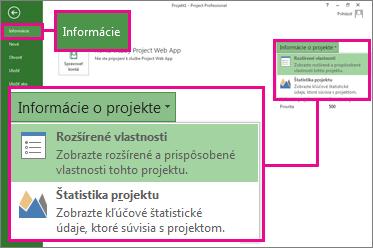 Ponuka Informácie o projekte so zvýraznenou možnosťou Rozšírené vlastnosti
