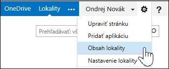 Výber položky Obsah lokality z ponuky s ikonou ozubeného kolieska na stránke O mne