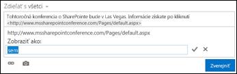 Prepojenie webovej stránky naformátované so zobrazovaným textom