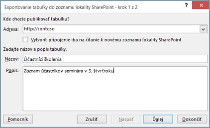 Dialógové okno sprievodcu exportovaním do SharePointu