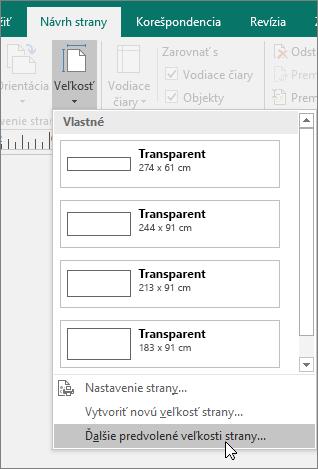 Snímka obrazovky s možnosťou Ďalšie predvolené veľkosti strany na karte Návrh strany v Publisheri.