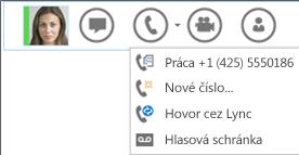 Snímka obrazovky zobrazujúca možnosť uskutočnenia hovoru