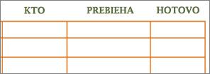 Pôvodná wordová šablóna Zoznam pracovných úloh sprázdnymi bunkami vriadkoch astĺpcoch.