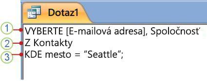 Karta SQL objektu zobrazujúca príkaz SELECT