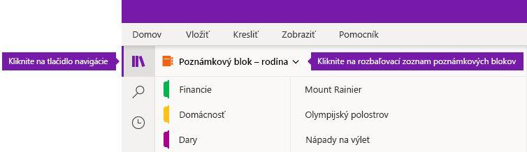Rozbaľovanie zoznamu poznámkových blokov vo OneNote pre Windows 10