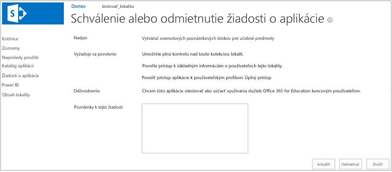 Snímka obrazovky zobrazujúca dialógové okno na schválenie alebo odmietnutie žiadosti oaplikáciu