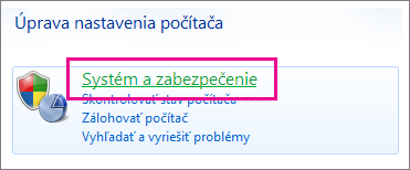 Ovládací panel Windowsu 7