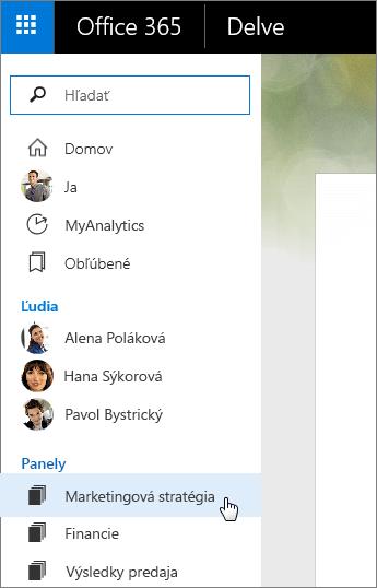 Snímka obrazovky zoznamu panelov na ľavej table Delve.