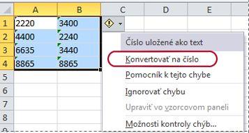 Príkaz Konvertovať na číslo