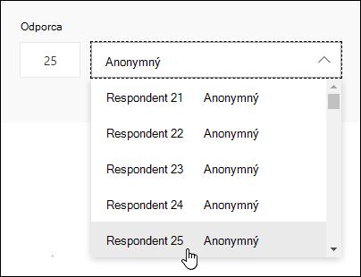 Zadanie konkrétneho čísla do vyhľadávacieho poľa respondenta na zobrazenie podrobností odpovede danej osoby v službe Microsoft Forms