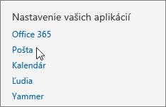 Snímka obrazovky sčasťou Nastavenia aplikácie včasti Nastavenie vaplikácii Outlook Web App. Kurzor ukazuje na možnosť Pošta.