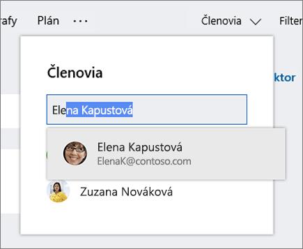Snímka obrazovky zoznamu členov pri zadávaní mena nového člena plánu.