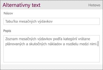 Pridajte alternatívny text ktabuľke.
