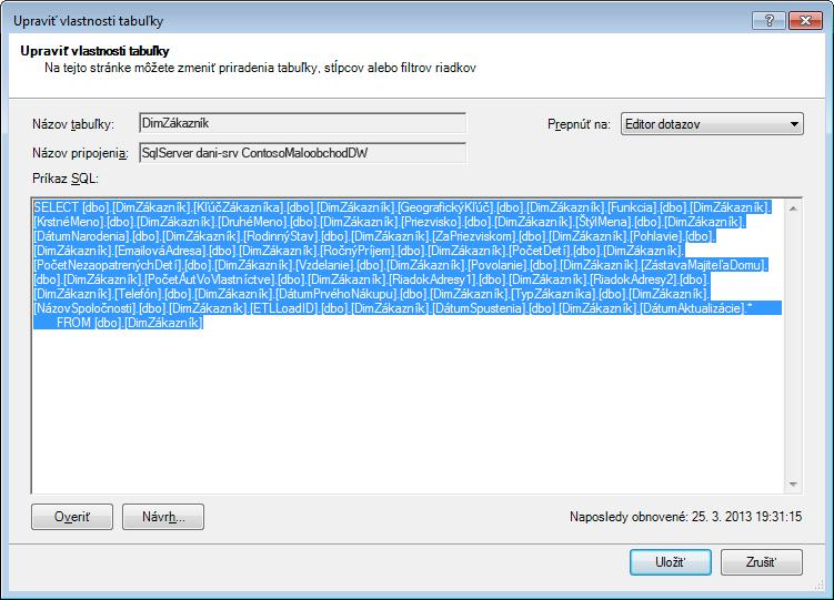 SQL dotaz použitý na načítanie údajov