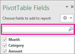 Vyhľadávacie pole v poli kontingenčnej tabuľky