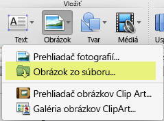 Na karte Domov na páse snástrojmi kliknite včasti Vložiť na položky Obrázok > Obrázok zo súboru.
