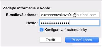 Pridanie e-mailového konta