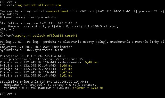 Snímka obrazovky zobrazujúca príkaz Ping lokality outlook.office365.com a PSPing s portom 443 s rovnakou činnosťou, ale aj vykazujúca 6,5 ms priemerného RTT.