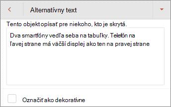 Dialógové okno alternatívny text pre obrázok v PowerPointe pre Android.
