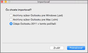 Obrazovka Importovať so začiarknutým políčkom Údaje Outlooku 2011 v tomto počítači