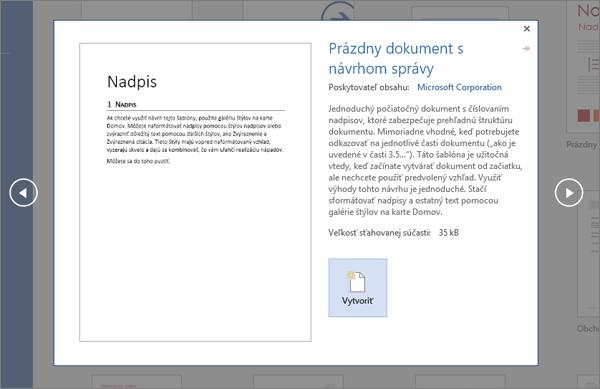 Zobrazuje ukážku šablóny návrhu zostavy vo Worde 2016.