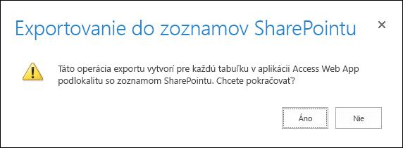 Snímka obrazovky s potvrdzovacím dialógovým oknom. Ak kliknete na možnosť Áno, údaje sa exportujú do zoznamov SharePointu. Ak kliknete na možnosť Nie, export sa zruší.