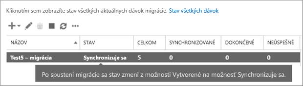 Synchronizácia dávky migrácie